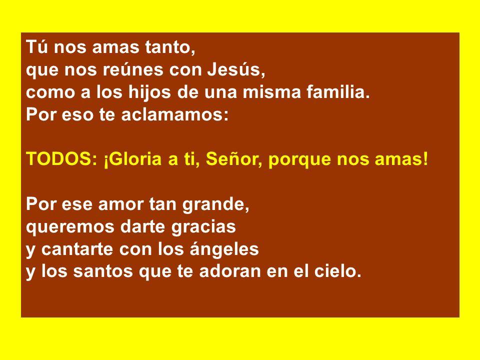 Tú nos amas tanto, que nos reúnes con Jesús, como a los hijos de una misma familia. Por eso te aclamamos:
