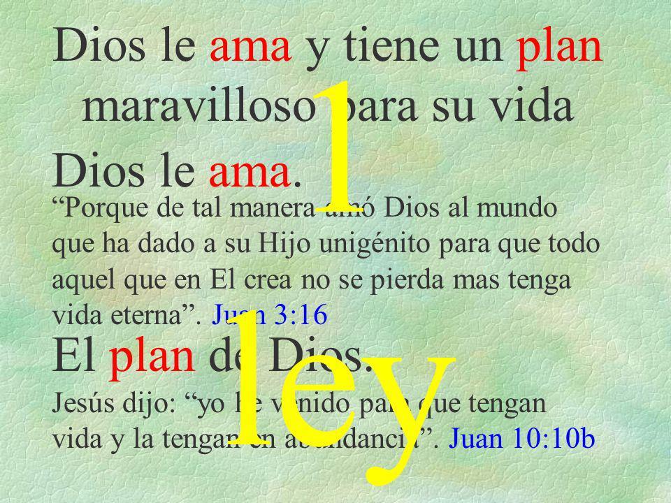 Dios le ama y tiene un plan maravilloso para su vida