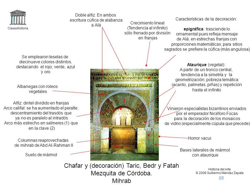 Chafar y (decoración) Taric, Bedr y Fatah Mezquita de Córdoba. Mihrab