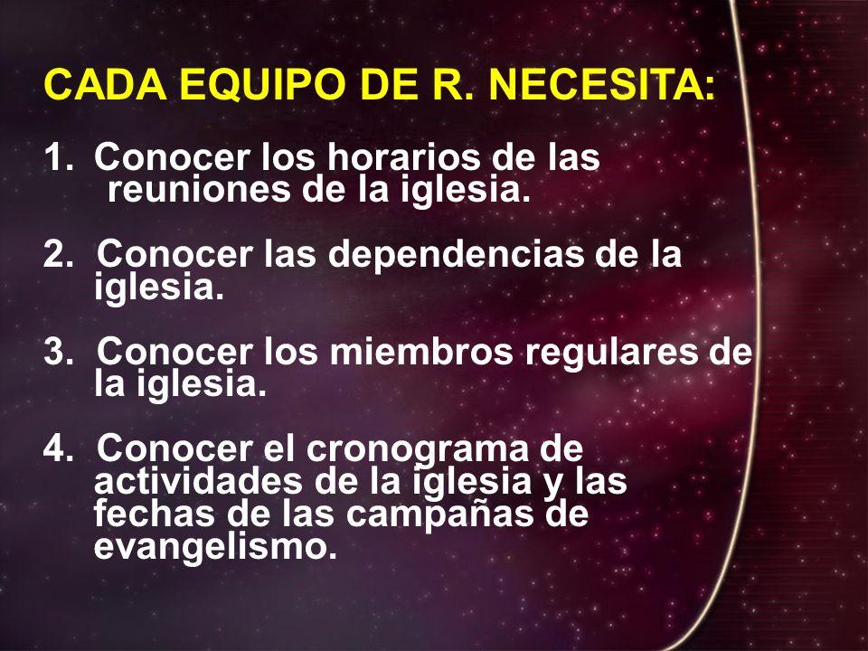 CADA EQUIPO DE R. NECESITA: