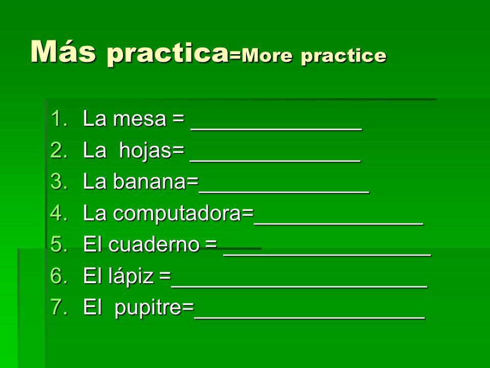Más practica=More practice