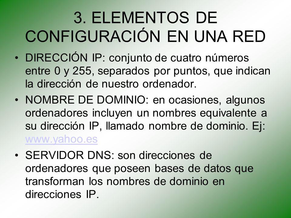 3. ELEMENTOS DE CONFIGURACIÓN EN UNA RED