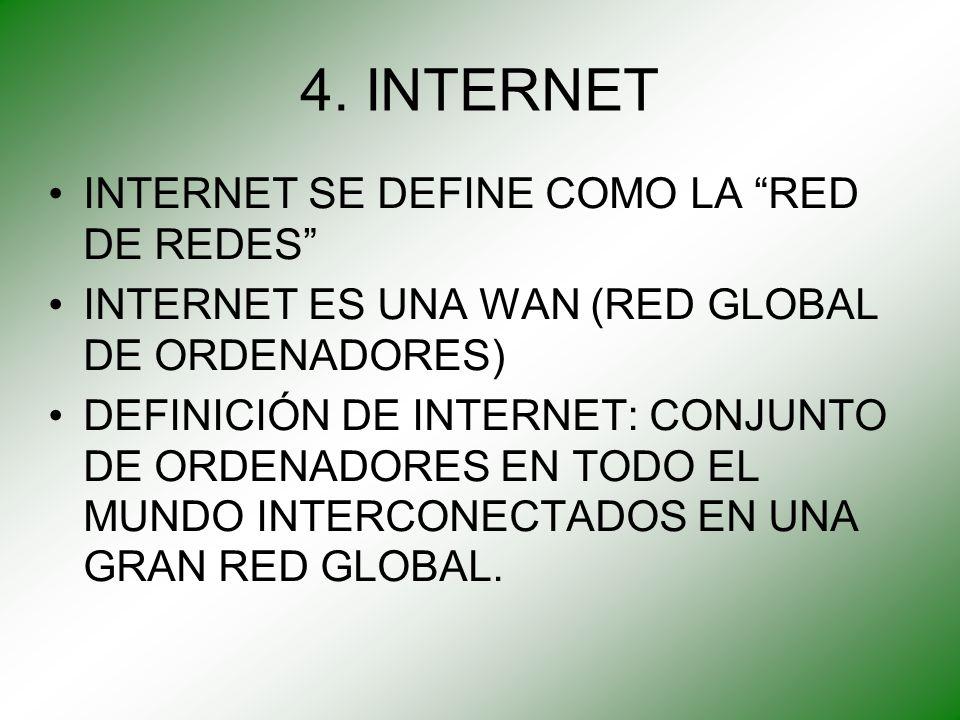 4. INTERNET INTERNET SE DEFINE COMO LA RED DE REDES