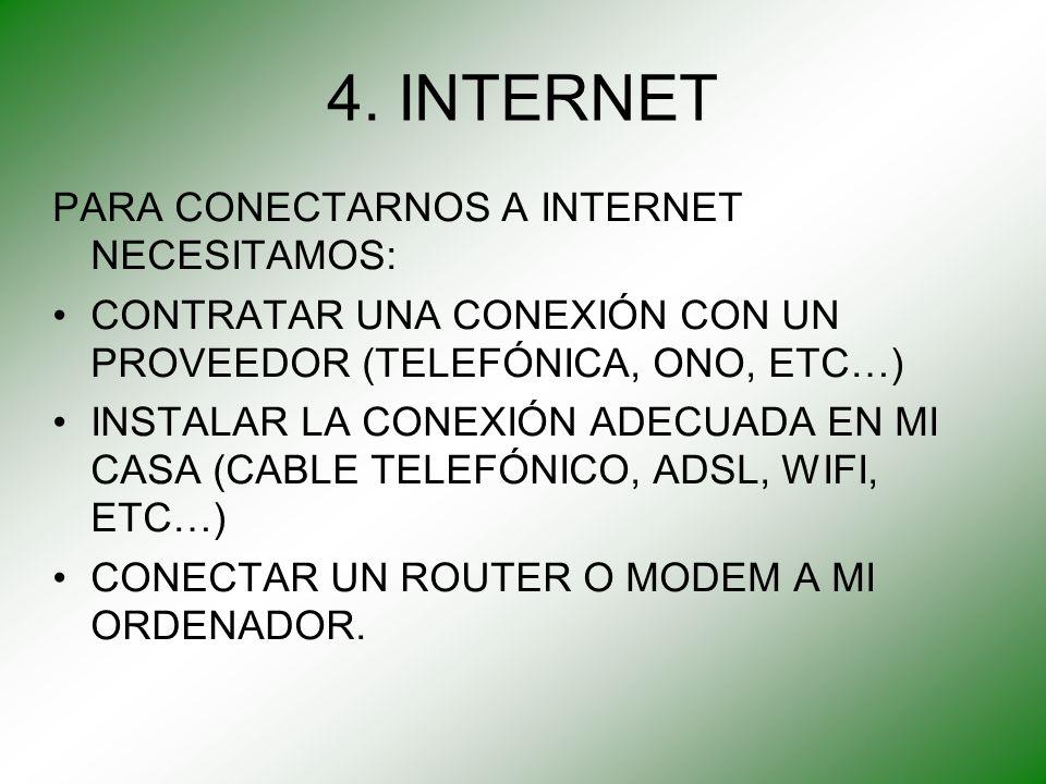 4. INTERNET PARA CONECTARNOS A INTERNET NECESITAMOS: