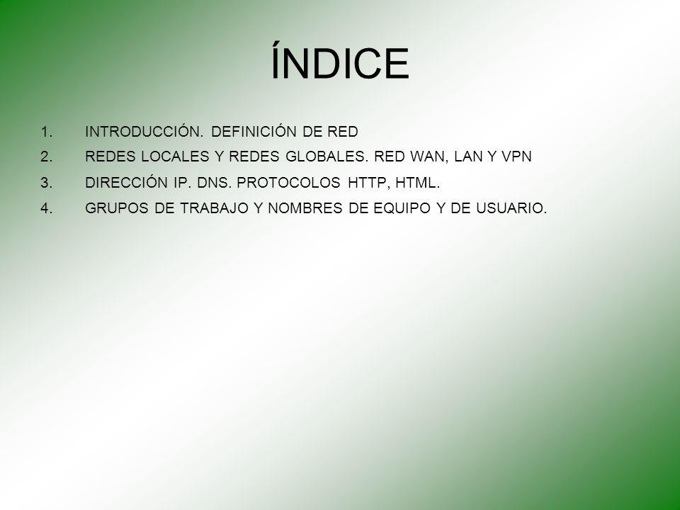 ÍNDICE INTRODUCCIÓN. DEFINICIÓN DE RED