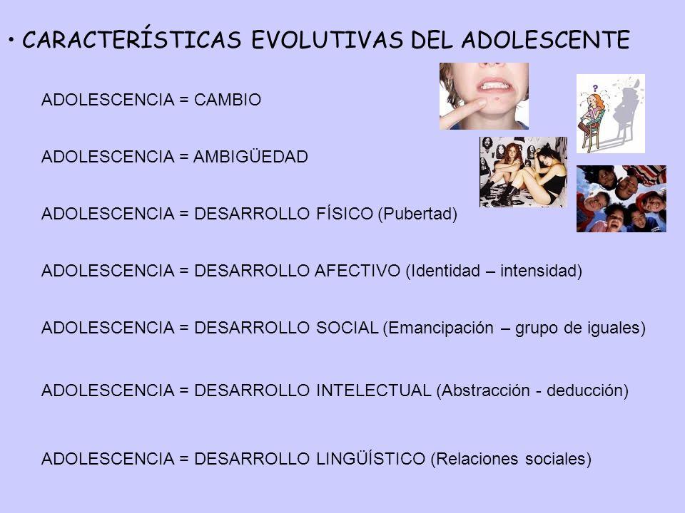 CARACTERÍSTICAS EVOLUTIVAS DEL ADOLESCENTE
