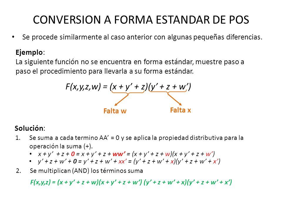 CONVERSION A FORMA ESTANDAR DE POS