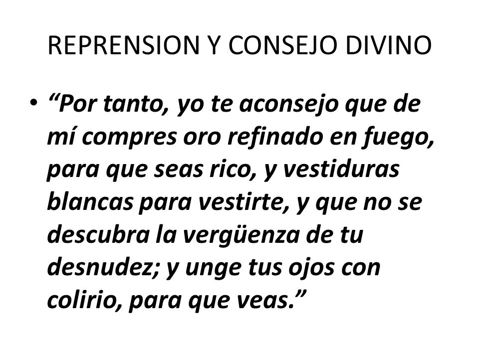 REPRENSION Y CONSEJO DIVINO