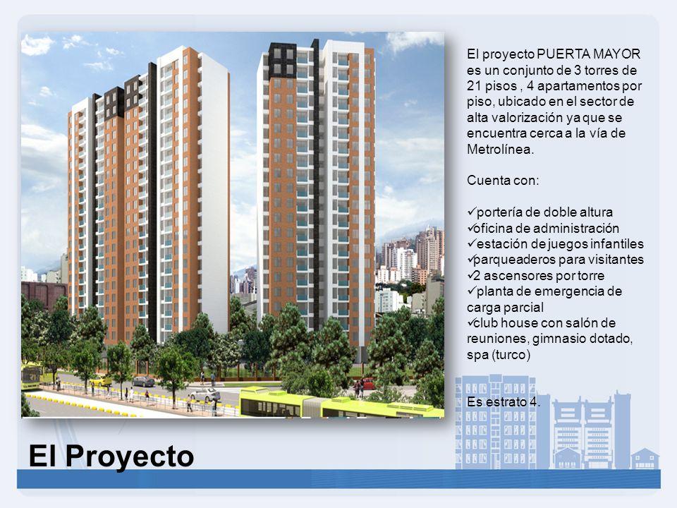El proyecto PUERTA MAYOR es un conjunto de 3 torres de 21 pisos , 4 apartamentos por piso, ubicado en el sector de alta valorización ya que se encuentra cerca a la vía de Metrolínea.