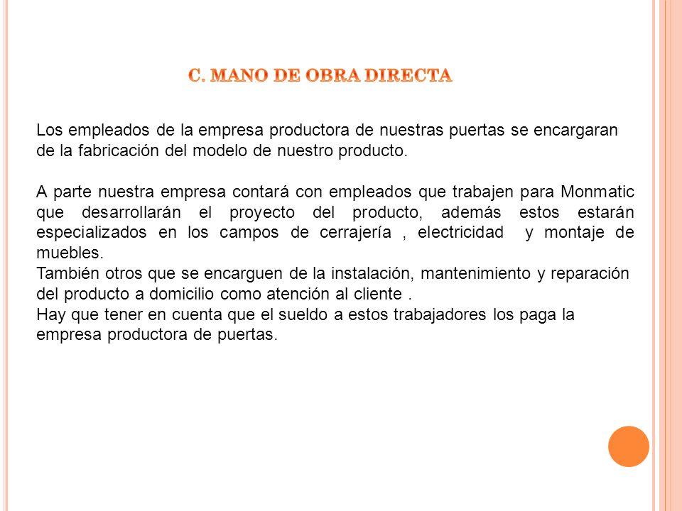 C. MANO DE OBRA DIRECTA Los empleados de la empresa productora de nuestras puertas se encargaran de la fabricación del modelo de nuestro producto.
