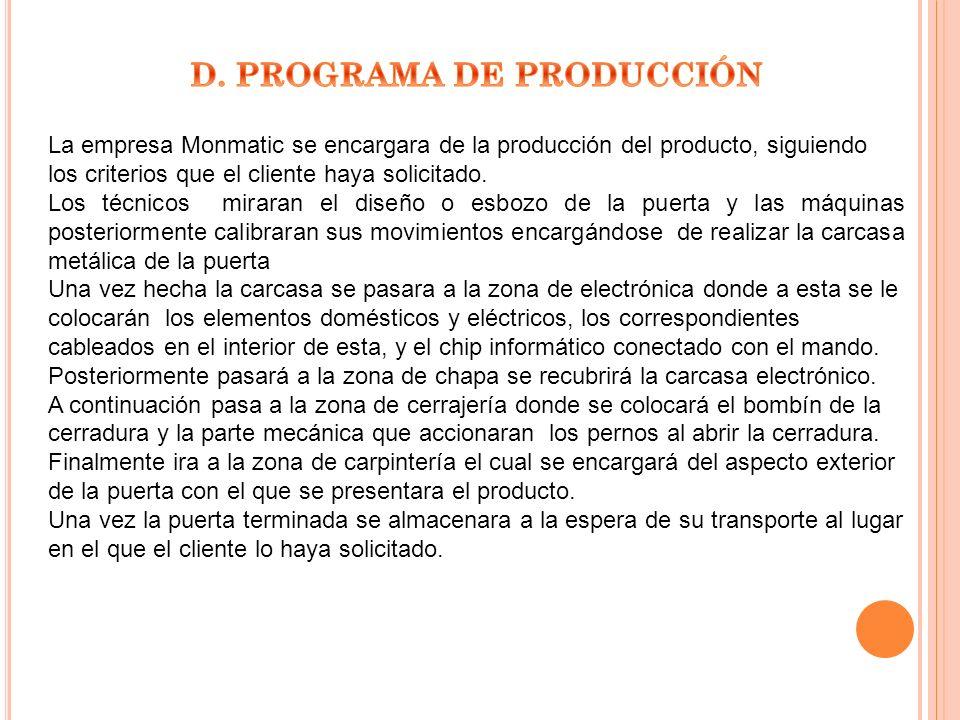D. PROGRAMA DE PRODUCCIÓN
