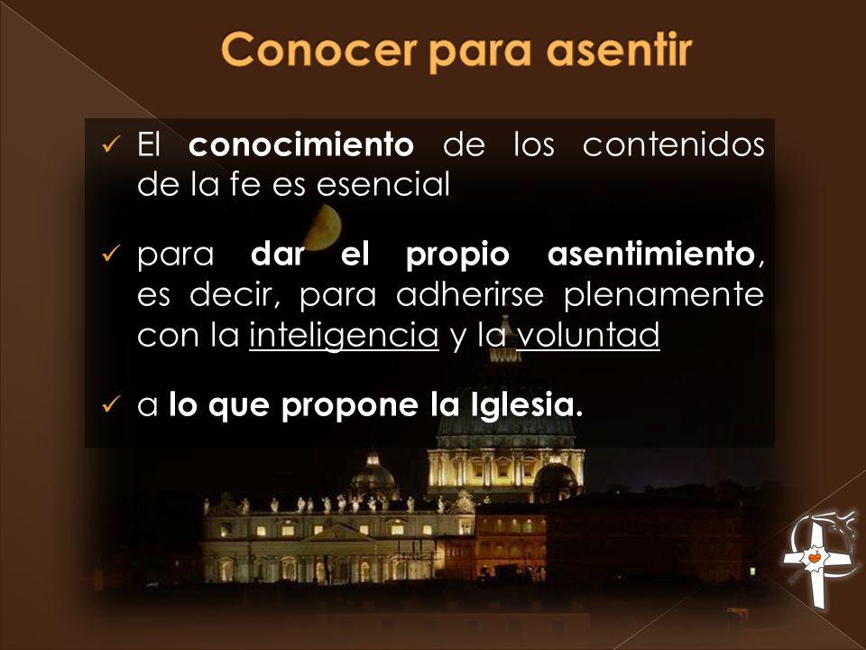 Conocer para asentir El conocimiento de los contenidos de la fe es esencial.