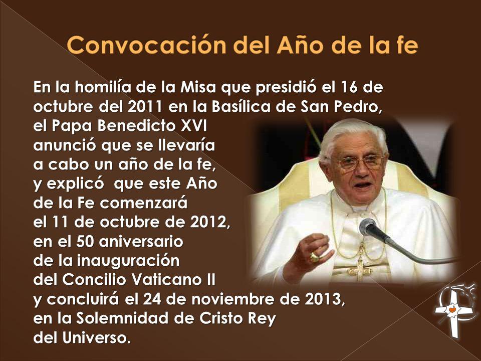 Convocación del Año de la fe