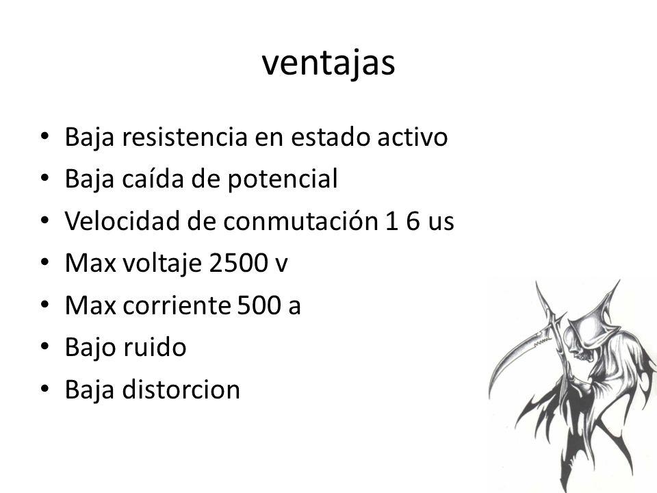 ventajas Baja resistencia en estado activo Baja caída de potencial