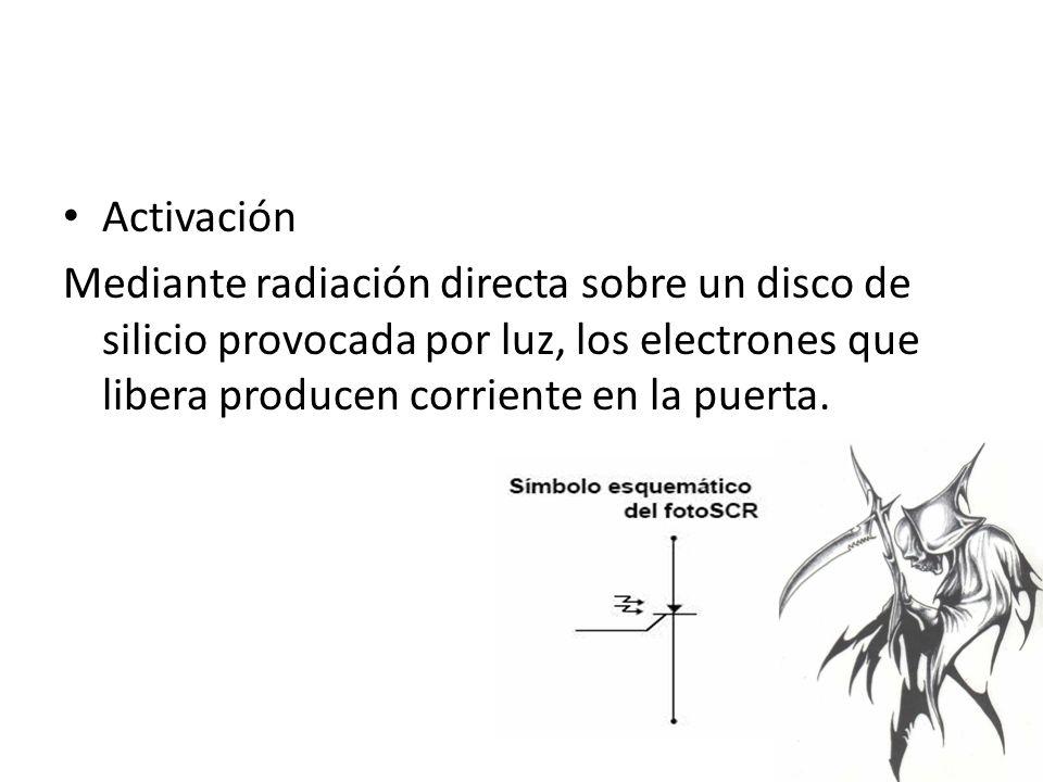 Activación Mediante radiación directa sobre un disco de silicio provocada por luz, los electrones que libera producen corriente en la puerta.
