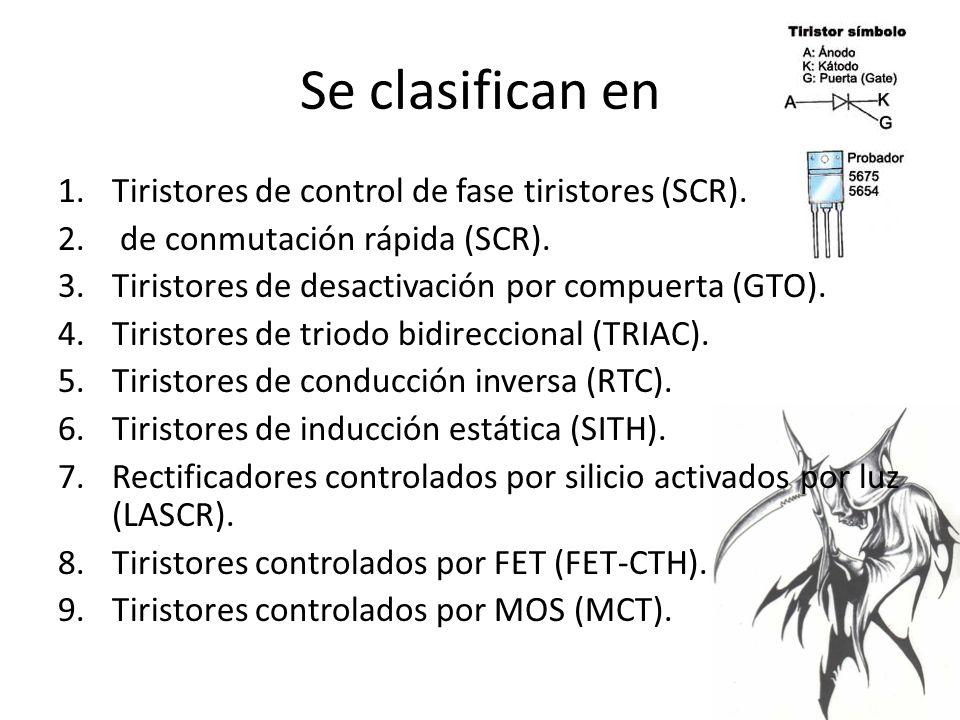 Se clasifican en Tiristores de control de fase tiristores (SCR).
