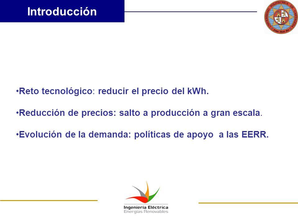 Introducción Reto tecnológico: reducir el precio del kWh.