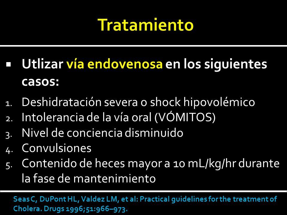 Tratamiento Utlizar vía endovenosa en los siguientes casos: