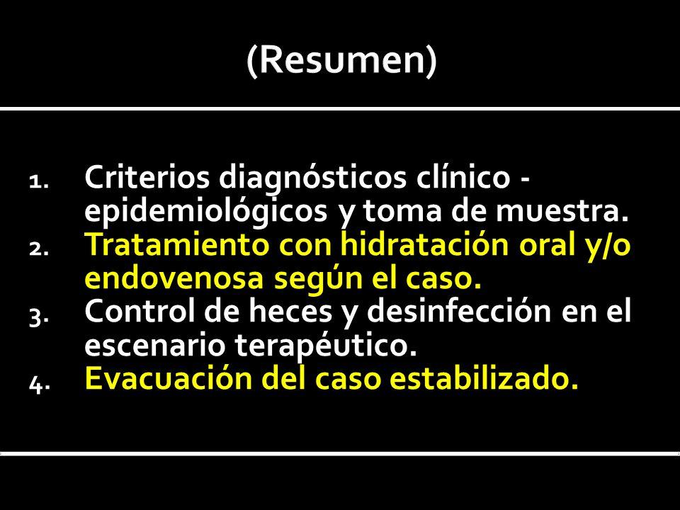 (Resumen) Criterios diagnósticos clínico -epidemiológicos y toma de muestra. Tratamiento con hidratación oral y/o endovenosa según el caso.