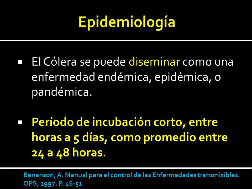 Epidemiología El Cólera se puede diseminar como una enfermedad endémica, epidémica, o pandémica.