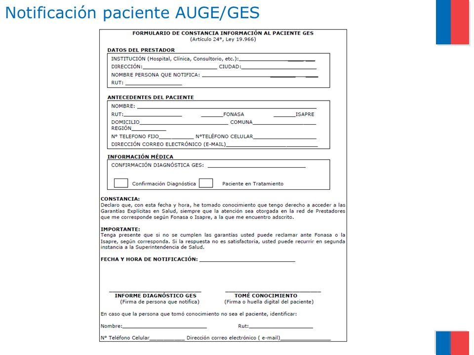 Notificación paciente AUGE/GES