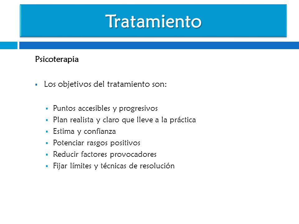 Tratamiento Psicoterapia Los objetivos del tratamiento son: