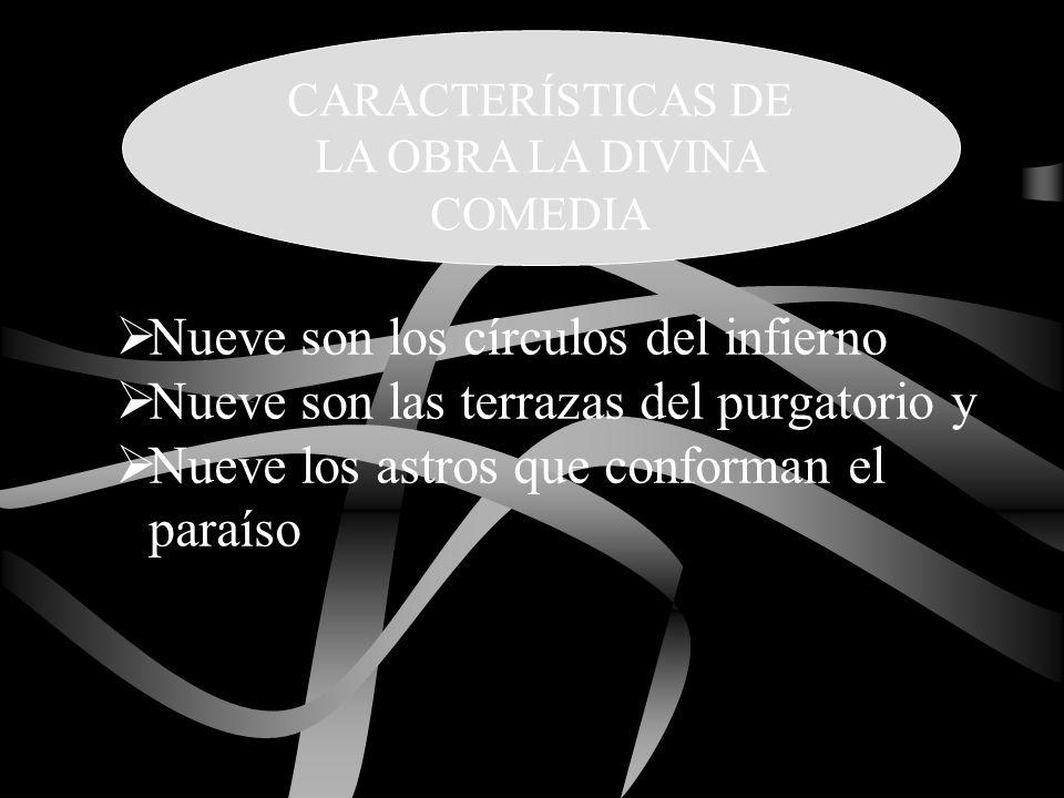 CARACTERÍSTICAS DE LA OBRA LA DIVINA COMEDIA