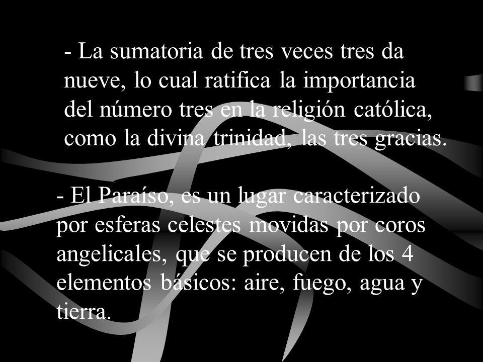 - La sumatoria de tres veces tres da nueve, lo cual ratifica la importancia del número tres en la religión católica, como la divina trinidad, las tres gracias.