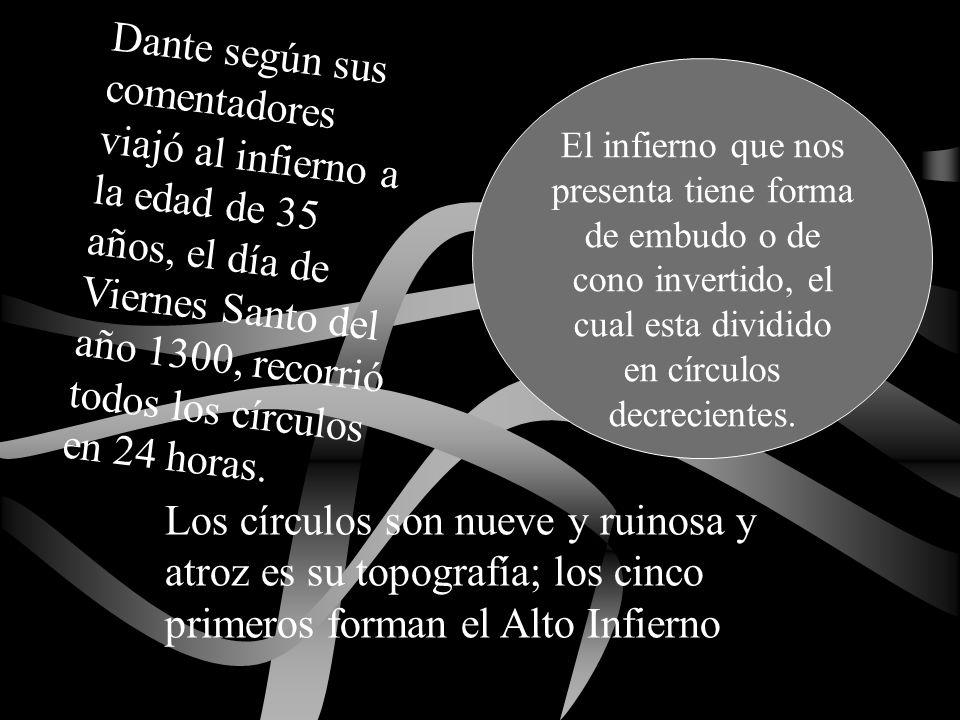 Dante según sus comentadores viajó al infierno a la edad de 35 años, el día de Viernes Santo del año 1300, recorrió todos los círculos en 24 horas.