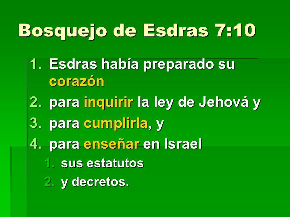Bosquejo de Esdras 7:10 Esdras había preparado su corazón