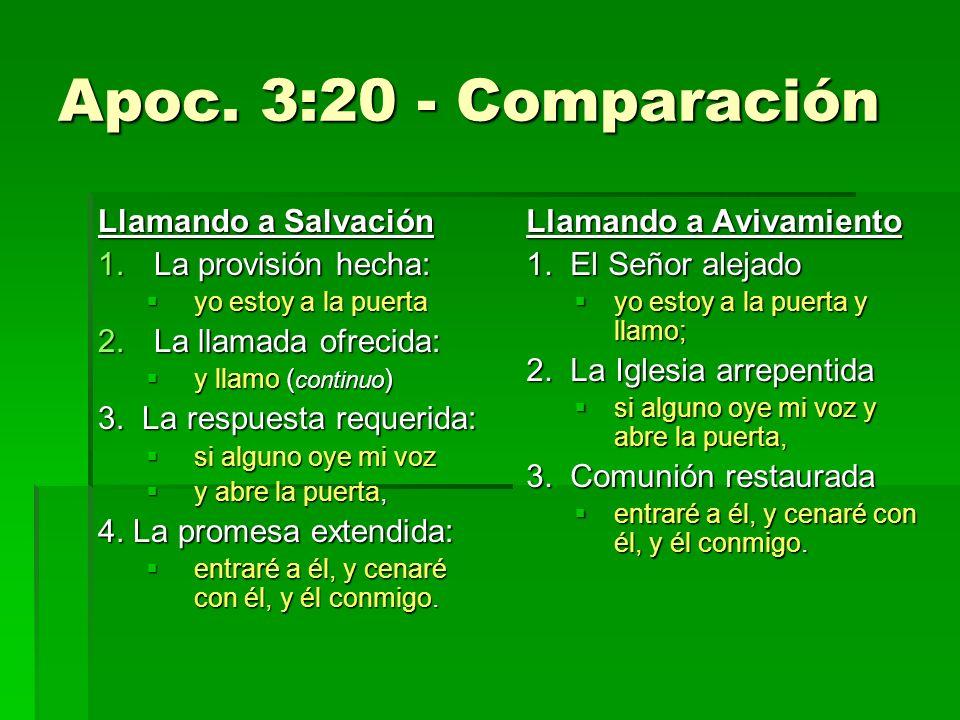 Apoc. 3:20 - Comparación Llamando a Salvación La provisión hecha: