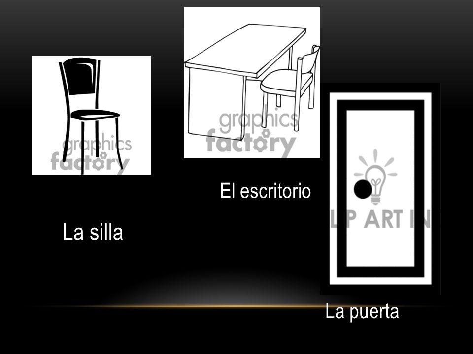 El escritorio La silla La puerta