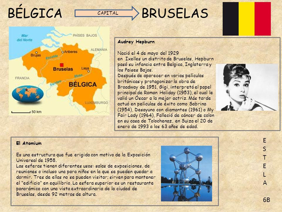 BÉLGICA BRUSELAS E S T L A 6B CAPITAL Audrey Hepburn