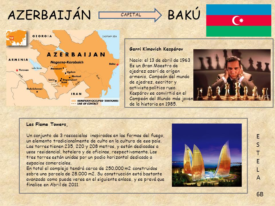 AZERBAIJÁN BAKÚ E S T L A 6B CAPITAL Garri Kímovich Kaspárov