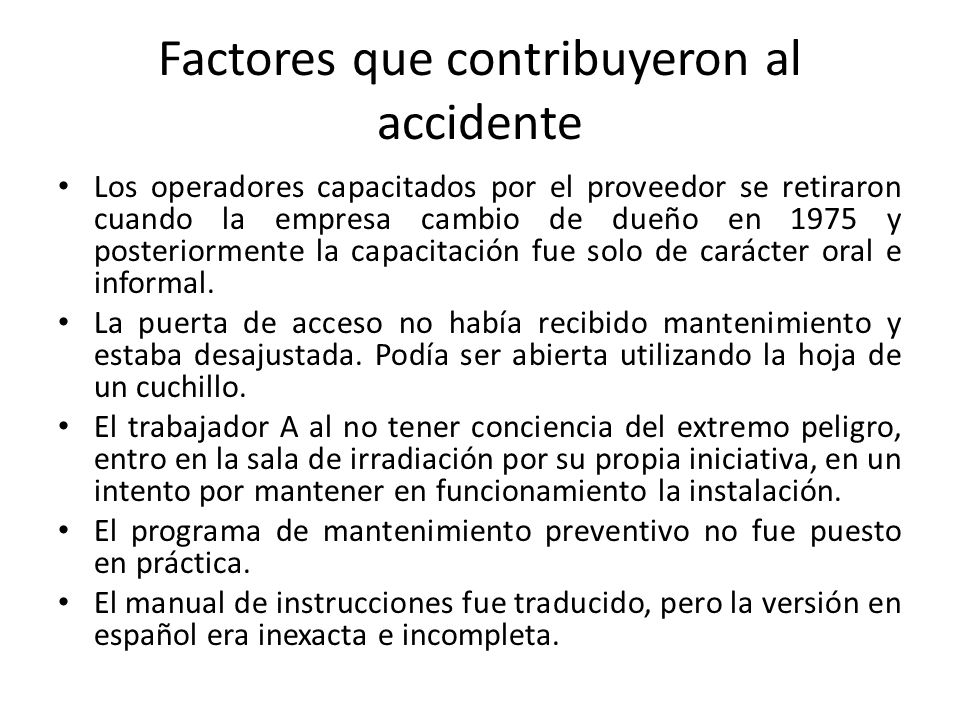 Factores que contribuyeron al accidente
