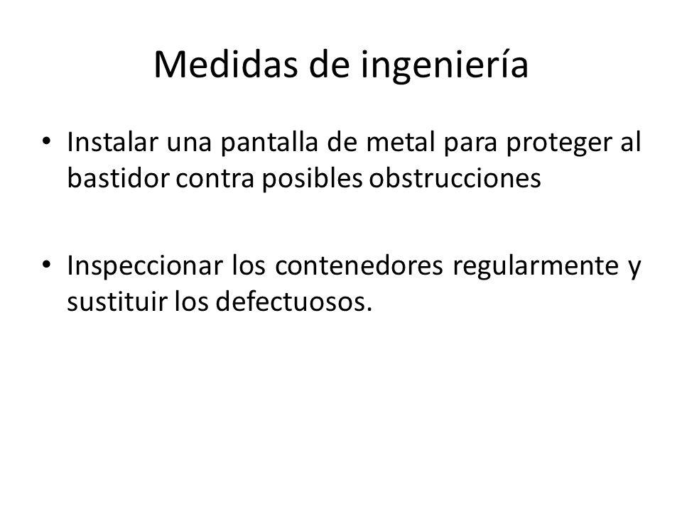 Medidas de ingeniería Instalar una pantalla de metal para proteger al bastidor contra posibles obstrucciones.