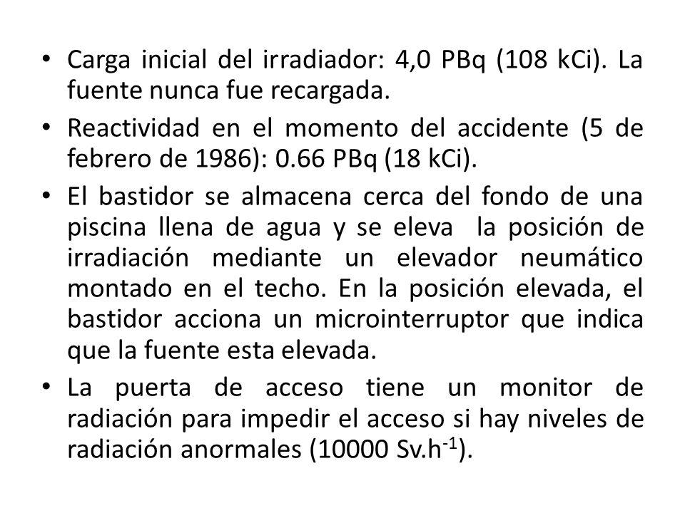 Carga inicial del irradiador: 4,0 PBq (108 kCi)