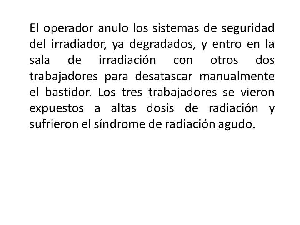 El operador anulo los sistemas de seguridad del irradiador, ya degradados, y entro en la sala de irradiación con otros dos trabajadores para desatascar manualmente el bastidor.