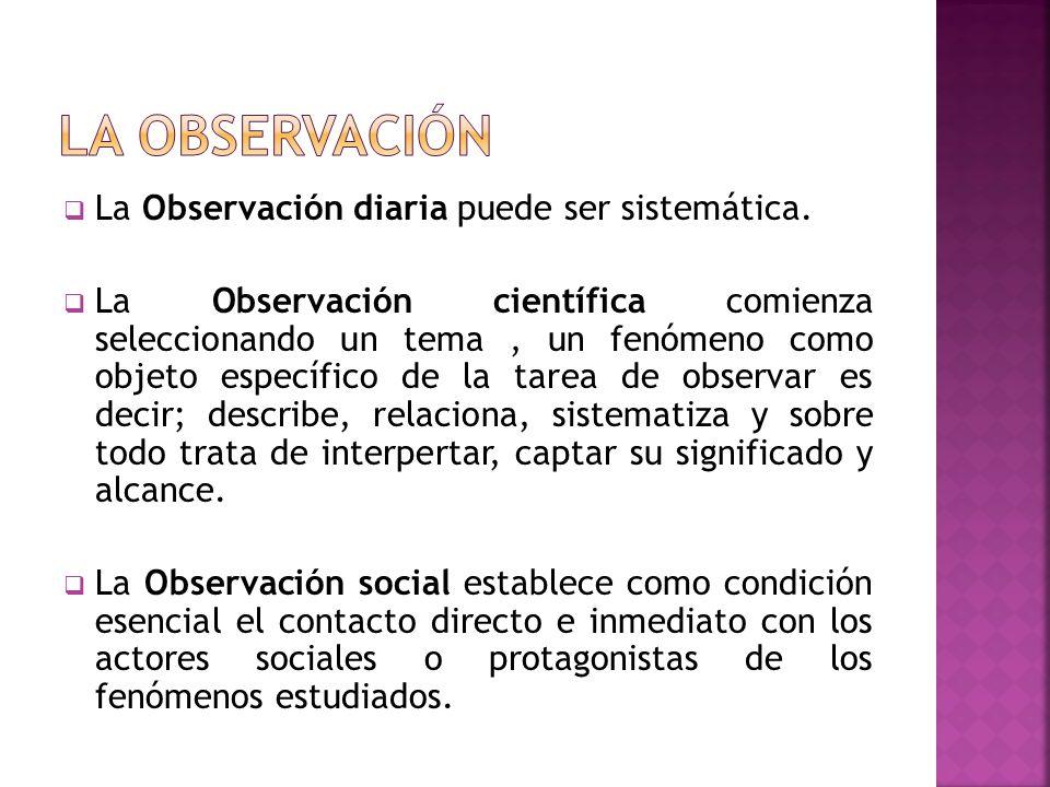 La observación La Observación diaria puede ser sistemática.