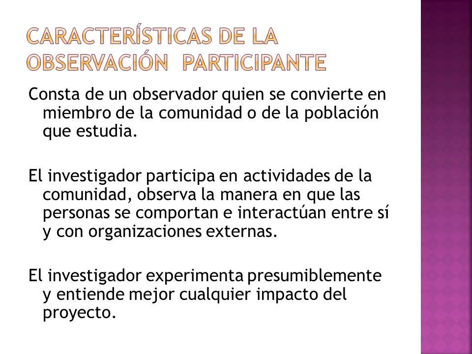 Características de la observación participante