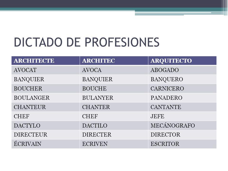 DICTADO DE PROFESIONES