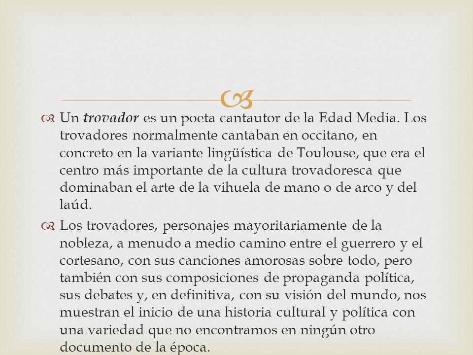 Un trovador es un poeta cantautor de la Edad Media