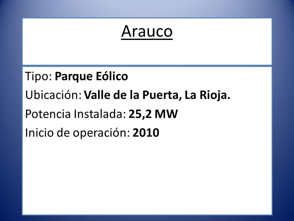 Arauco Tipo: Parque Eólico Ubicación: Valle de la Puerta, La Rioja.