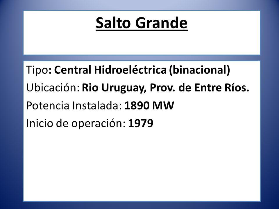 Salto Grande Tipo: Central Hidroeléctrica (binacional)