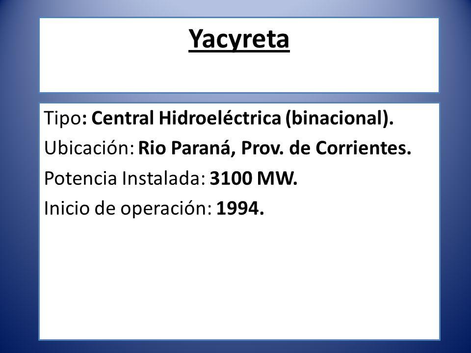 Yacyreta Tipo: Central Hidroeléctrica (binacional).