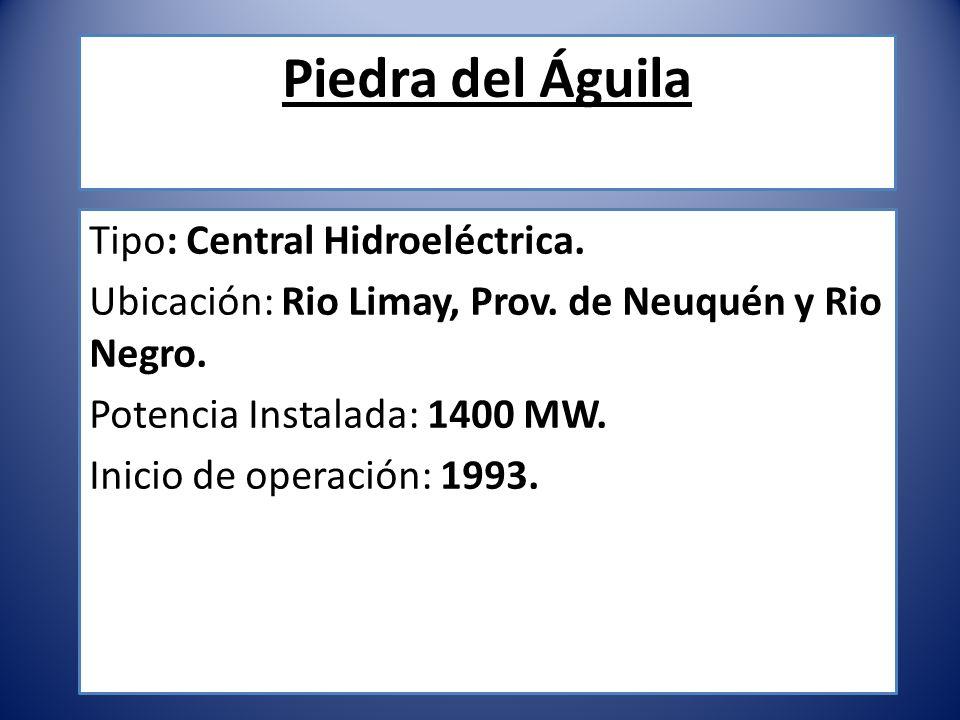 Piedra del Águila Tipo: Central Hidroeléctrica.