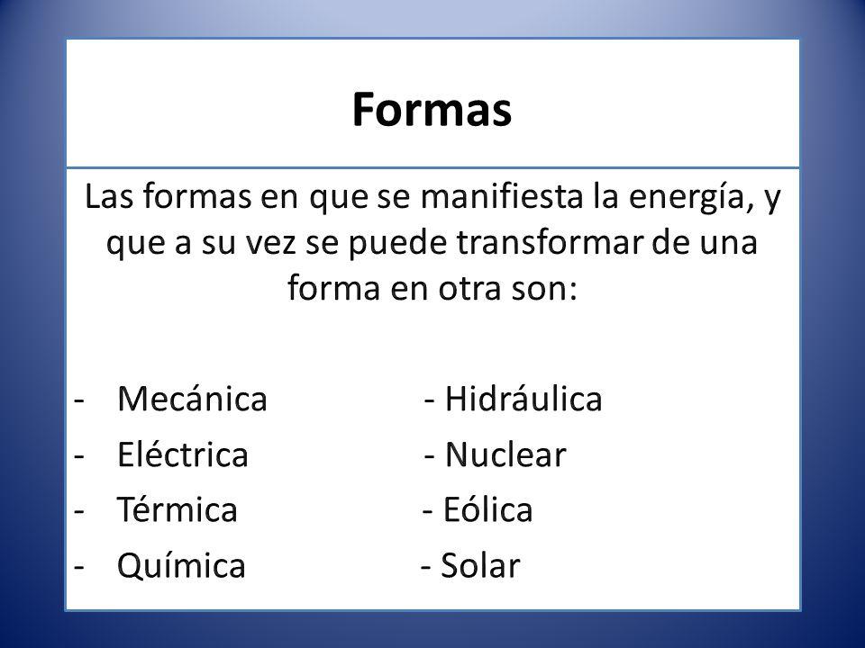 Formas Las formas en que se manifiesta la energía, y que a su vez se puede transformar de una forma en otra son:
