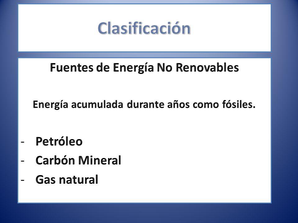 Clasificación Fuentes de Energía No Renovables Petróleo Carbón Mineral