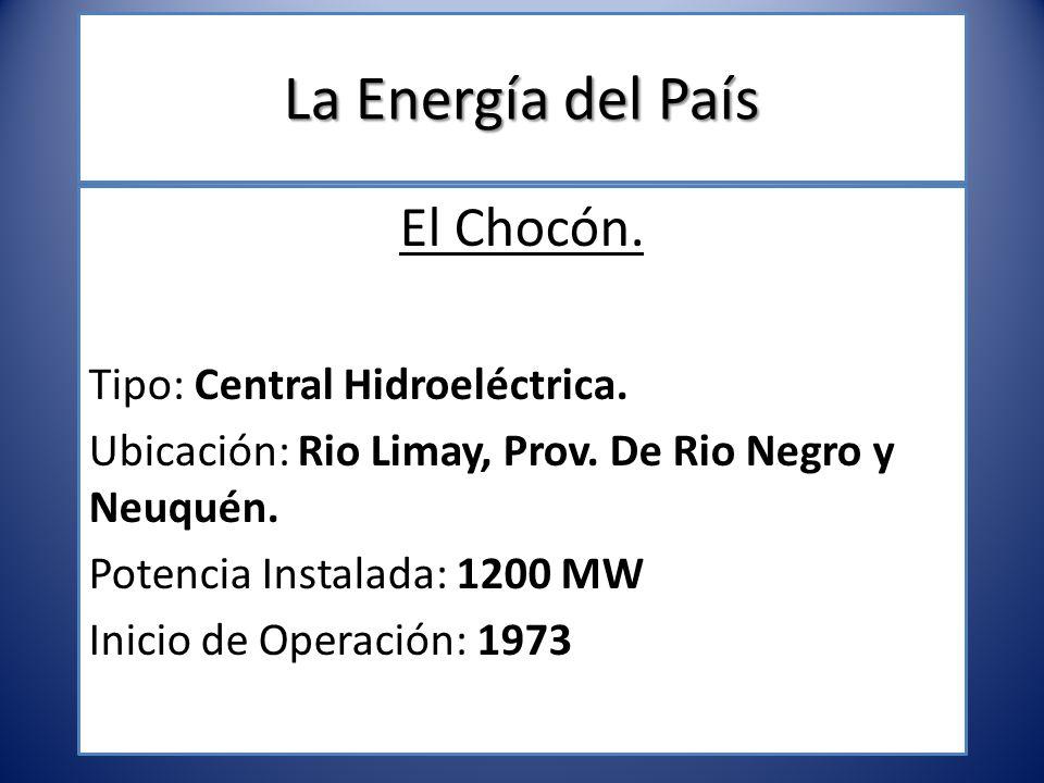 La Energía del País El Chocón. Tipo: Central Hidroeléctrica.