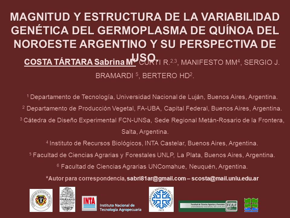 6 Facultad de Ciencias Agrarias UNComahue, Neuquén, Argentina.